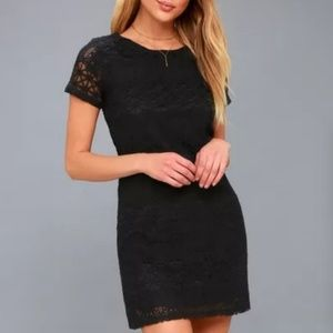 NWT Lulu's Black Lace Mini Shift Dress